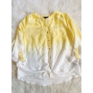 Zac&Rachel Yellow Striped Knot Tie Blouse